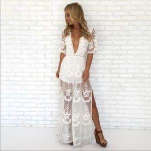 HONEY PUNCH White Lace Romper